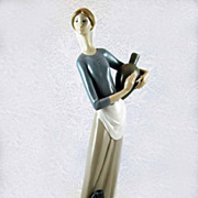 SALE Vintage Lladro Retired 'Girl with Jugs' Figurine - Rare Double Stamp