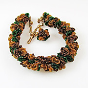 SALE Vintage Seed Bead Chain  Torsade Style Necklace in Autumn Colors