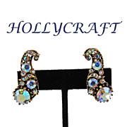 SALE Vintage Hollycraft Aurora Borealis Rhinestone Earrings - Circa 1960
