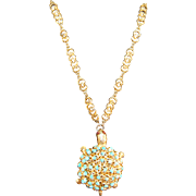 Vintage Signed Swoboda Figural Turtle Long Chained Necklace