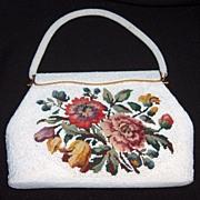 VTG Handmade Broadway Beaded Flower Tapestry Handbag/Purse