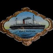 SOLD LARGE Vintage Enameled Pin of RMS Antonia 1920s Cunard Ocean Liner Ship