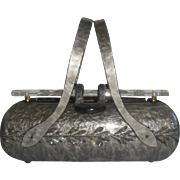 SOLD Vintage Rialto NY Lucite Purse - Marbleized Grey with Clear Lid