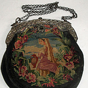 SOLD Vintage Tapestry Purse with Ornate Metal Frame with Flowers
