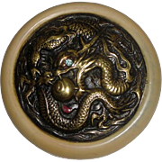 "SOLD Vintage Large 2"" Plastic Button with Dragon & Blue Stone"