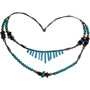 2-Strand Necklace of Turquoise Coral Stones & Sterling Beads