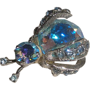 Signed Warner Insect Bug Brooch with Blue Iridescent Stones