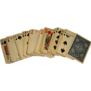 SOLD Vintage Playing Cards with Fortunes & Leather Holder