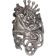 SOLD OLD  Ornate Sterling Silver Ring with Woman / Queen with Long Hair Flowers & Crown