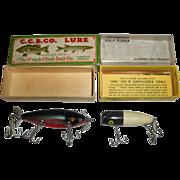 SOLD 2 Vintage Fishing Lures - Creek Chub Injured Minnow & Arbogast Hula Popper