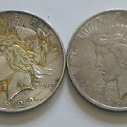 SOLD 2 U.S. Coins - Peace Dollars 1922 &  1923