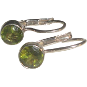 SOLD Pretty Sterling Silver Earrings with Green Peridot Stones
