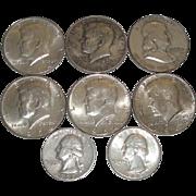 SOLD 8 Old U.S. Silver Coins 1959-64 Quarters & Half Dollars