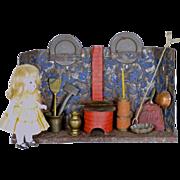 "German Tin Kitchen W/ Small Red Stove, 9 1/2"" x 2 1/2"" x ..."