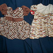 """2  Vintage Cotton Dresses for your 40's and 50""""s Compo & Plastic Dolls Free P&i US buyers"""