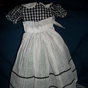 Fantastic Black & White Check Long Cotton Dress organdy Apron Free P&I US Buyers