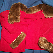 Vintage Red Wool Doll Coat fur Trim Free P&I US buyers
