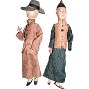 2 Unique Vintage Chinese Male Dolls Free P&I US BUYERS