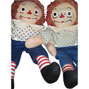 """Two 15"""" Georgene Raggedy Andy Dolls Free P&I US Buyers"""