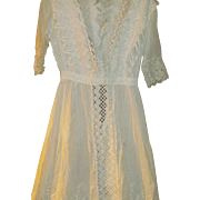 Beautiful Summer White  elaborate Dress & Slip wonderful lace and crochet trimnFree P&