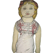 """24"""" Old Cloth Printed Doll Bow Free P&I US Buyers"""