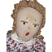 "19"" Edih Flack type Cloth Pigtail Rag Doll with lashes Free P&I US Buyers Free P&I US Buy"