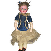 "Beautiful 1840's wax over Papier Mache 20"" Doll Free P&I US Buyers"