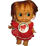Big Eye Valentine Redhead Baby Tuffie bendee Doll Free P&I US Buyer