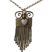 Unusual Antique Victorian Tassel Pendant with Opaline Heart, Silver Plated