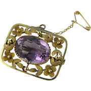 Beautiful Antique Edwardian 9ct Gold & Amethyst 'Flower Wreath' Pin / Pendant