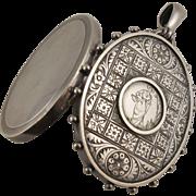 Unusual Antique Victorian Silver 'Greenaway Girl' Large Locket