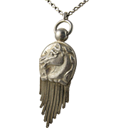 Unusual Large Antique Victorian Sculptural Silver 'Horse Tassel' Pendant