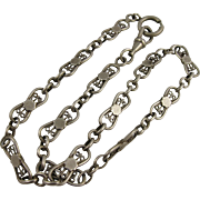 Antique 1800s French Silver Fancy Link Collar Chain Necklace