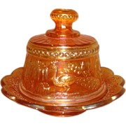 SOLD Antique Northwood Carnival Glass MARIGOLD Peacock at the Fountain BUTTER DISH ~ Mint