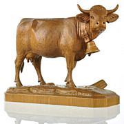 Antique Black Forest Cow Figure Hand Carved in Switzerland