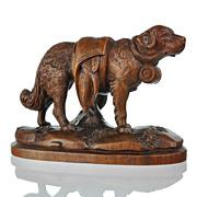 SOLD Antique Swiss Hand Carved Black Forest St. Bernard Dog