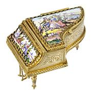 SOLD Antique Viennese Enamel & Bronze Ormolu Miniature Piano Jewel Casket