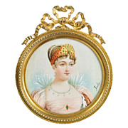 SOLD Antique French Portrait Miniature of Empress Marie-Louise, Dore Bronze Frame