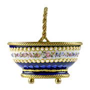 SOLD Antique French Enamel Miniature Basket with Jeweled Beading & Gilt Bronze Mounts