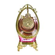 SOLD Antique Rose Pink Glass Pocket Watch Holder Stand Display Vitrine Box