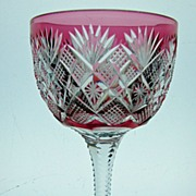 Cranberry Cut to Clear Wine in Venetian Pattern by Straus