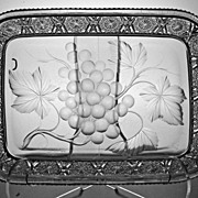 Rare Rectangular Tab Handled Tray Signed Tuthill in Vintage Pattern