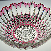 Very Rare American Cut Glass Cranberry to Clear Bowl
