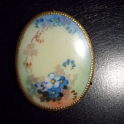 Large Vintage Hand Painted Porcelain Pin Brooch Late Victorian