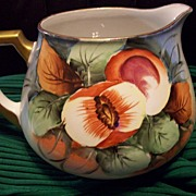 Large Old Bavaria Hand Painted Peach Pitcher,Ca 1880-1910