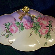 Limoges William Guerin Hand Painted Rose  Dresser Tray,Ca1905