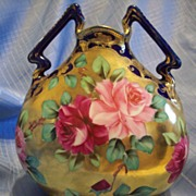 Spectacular Nippon Hand Painted Cobalt Gold Rose Pillow Vase