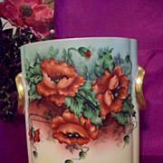 "9.5"" Tall Spectacular  Heinrich &Co Selb Bavaria  Hand Painted Poppy  Cache Pot Vase ,Artist J.Kuby Signed,Ca 1900-1923"