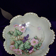 Gorgeous Rosenthal RC Bavaria Hand Painted Master Berry Bowl, Roses and Blueberries, Artist Signed