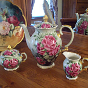 Gorgeous Vintage  Bavaria Bareuther Hand Painted Rose Tea Coffee Chocolate Pot/Creamer/Sugar Bowl Set,Very Fine-quality